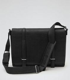 Mens Black Leather Messenger Bag - Reiss Salvatrucha
