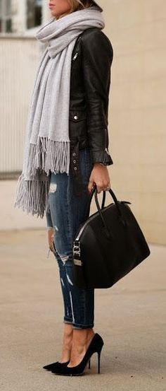 Fall fashion | Huge grey scarf, leather jacket, distressed denim and heels