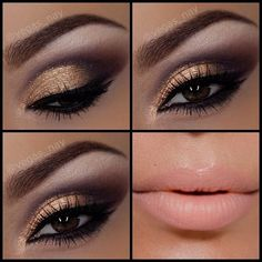 I can't quite imagine a situation when i would wear this eye makeup, but i love it! gold and purple eye makeup with nude lipstick