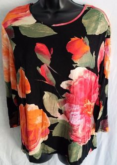 Chicos Womens Knit Top Shirt Blouse Size 3 (reg size 16) 3/4 Sleeve Top Floral #Chicos #KnitTop #Casual