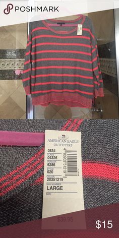 NWT American Eagle Outfitters women's sweater Pretty grey and coral striped sweater, NWT American Eagle Outfitters Sweaters