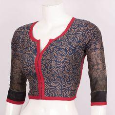 Batik Printed Silk Cotton Blouse With Full Sleeve 10018875 Size - 38 - AVISHYA.COM