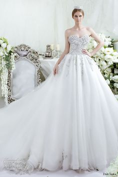 Dar Sara 2016 Wedding Dresses | Wedding Inspirasi | Exquisite Swarovski Bejeweled, & Embellished Bridal Ball Gown Featuring A Sweetheart Neckline, Corset Bodice, & A Wonderful Tulle Skirt With Embroidered Hemline.........................
