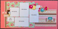 Scrapbook Generation: Two Page, Five Photo Layout, Two Horizontal Photos, Two Vertical Photos, One Square Photo