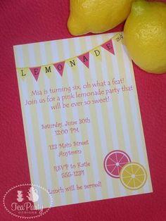 Sweet Pink Lemonade Birthday Party invite