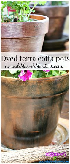 How to dye terra cotta pots with ritdye. Simple and really cool look!