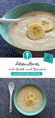 Der Klassiker unter den Babybreien: Grießbrei mit Banane für Babys ab dem 6. Monat. Rezept für Milch-Getreide-Brei.