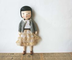 Clay and cloth art doll Jeanne One of a kind by sweetbestiary