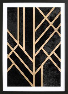 Art Deco Black - Elisabeth Fredriksson - Gerahmtes Poster