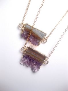Geode Necklace  Raw Amethyst Slice  Crystal by FashionCrashJewelry, $47.00