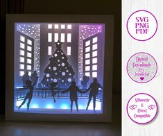 Ice Skating - 3D Paper Cut Template Light Box SVG Digital Download Files, Shadow Box by Jumbleink on Etsy 3d Paper, Paper Gifts, 3d Light, Cabin Christmas, Paper Light, 3d Craft, Scan And Cut, Frame Template, Good Cheer