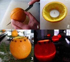 Make indoor candles made with orange and cloves, which besides being beautiful, still exudes a pleasant scent of orange and cloves and even better, repels insects. Add extra pattern holes to orange rind for more light . Table Orange, Orange Lanterns, Orange Candles, Orange Lamps, Make A Door, Insect Repellent, Diy Candles, Scented Candles, Homemade Candles