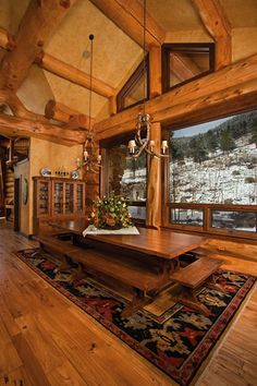 Take a look at these stunning log home kitchens. It is said that the kitchen is the heart of the home, and we here at Pioneer Log Homes of BC… Log Home Kitchens, Log Home Living, Log Home Decorating, Decorating Ideas, Log Cabin Homes, Log Cabins, Mountain Cabins, Cabin Interiors, Cabins And Cottages
