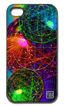 """Neutrino""(c) on an iPhone cover.  (c) 2013 Textiles for Thinkers, LLC.  All Rights Reserved."