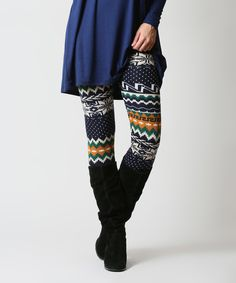 a537dcabaa5e3 42POPS Navy & Yellow Fair Isle Leggings by 42POPS #zulily #zulilyfinds  Layered Look