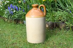 Large Antique Stoneware Flagon With Handle