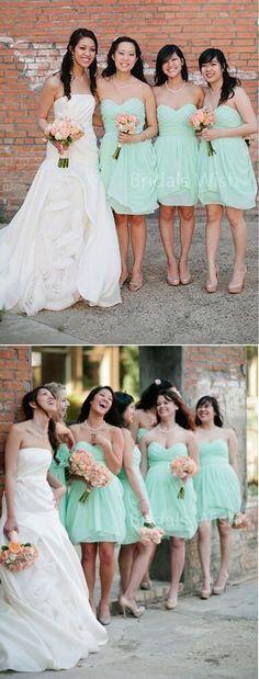 Cheap bridesmaid dresses,mint green bridesmaid dresses, sweet heart short bridesmaid dresses, BW0472
