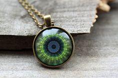 Mandala necklace Art pendant New Age jewelry Sacred by oldwoodland