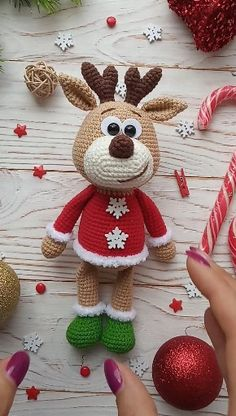 Reindeer crochet pattern You buy a crochet toy pattern reindee. Reindeer crochet pattern You buy a crochet toy pattern reindeer in English, not a finished toy! Crochet Christmas Decorations, Christmas Crochet Patterns, Holiday Crochet, Crochet Animal Patterns, Stuffed Animal Patterns, Crochet Patterns Amigurumi, Crochet Animals, Crochet Dolls, Christmas Crafts