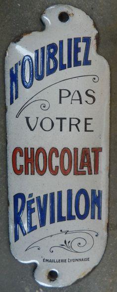 Plaque émaillée ancienne de propreté : chocolat Révillon- Publicitaire - Bistrot