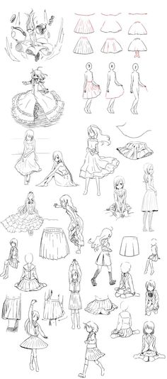 how to draw skirts - the artist learned skirt because I was not good at it