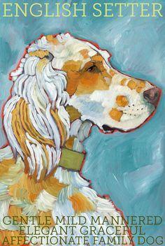 "English Setter No. 1 -  Orange Belton Art Print 8.5x11"". $20.00, via Etsy."