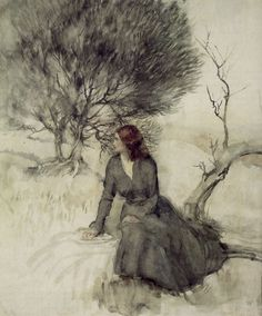 Girl Beside a Stream Arthur Rackham (1867-1939) - Art Curator & Art Adviser. I am targeting the most exceptional art! See Catalog @ http://www.BusaccaGallery.com
