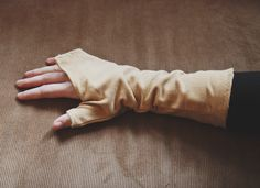 Mustard Pale Yellow Corduroy Floral Fingerless Hand Warmers // Size XS - pinned by pin4etsy.com