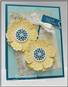 Connie's cheerful card uses Mixed Bunch & its matching Blossom punch, Banner Greetings (hostess), Epic Day dsp, & Honeycomb embossing folder.