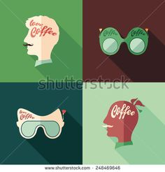 Set of colorful coffee flat square icons with long shadows. #coffee #foodicons #flaticons #vectoricons #flatdesign
