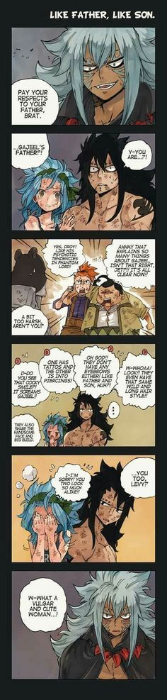 Father and Son, Fairy Tail Comic, What if Acnologia was Gajeel's Dad? Gale Fairy Tail, Fairy Tail Funny, Fairy Tail Guild, Fairy Tail Nalu, Fairy Tail Ships, Fairy Tales, Itachi, Gajeel Et Levy, Manga