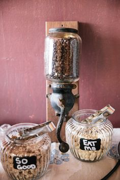 Rustic outdoor wedding at Paramount Ranch, with vintage coffee bean grinder used to decorate coffee bar