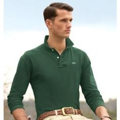7092d61d Men Polo Shirt Long Sleeve, Dark Green Polo Lacoste Homme, Lacoste Polo  Shirts,