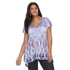 Plus Size World Unity Embellished Sublimation Sharkbite Top, Women's, Size: 0X, Med Purple