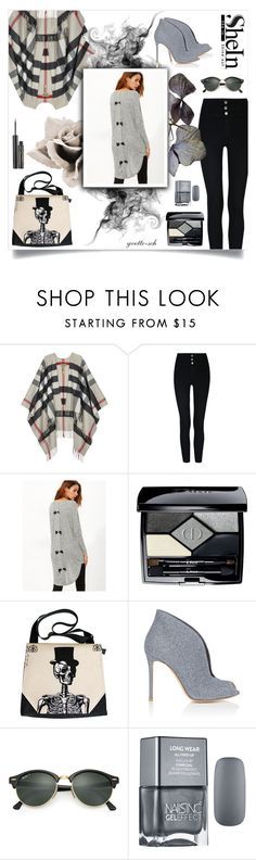 """""""Spooky Casual"""" by yvette-sch ❤ liked on Polyvore featuring Burberry, Christian Dior, Gianvito Rossi, Ray-Ban and Elizabeth Arden"""
