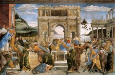 Opstand tegen de wetten van Mozes ~ Uit de cyclus Het leven van Mozes ~ 1481-1482 ~ Fresco ~ Sixtijnse Kapel, Rome