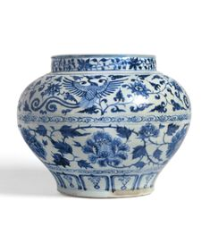 A RARE BLUE AND WHITE 'PHOENIX AND PEONY' JAR, GUAN YUAN DYNASTY, 14TH CENTURY - Sotheby's