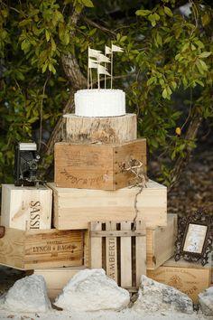 wedding cake displayed on crates #rustic #decor
