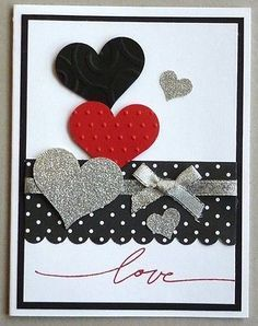 Valentine card making kit of 5 Valentine Wishes Hearts Love Stampin Up!
