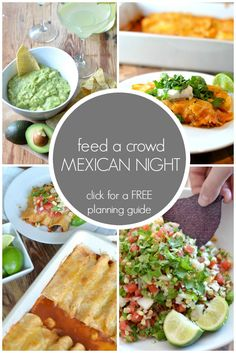 Feed a Crowd: Mexican Night Menu + Planning Guide. Invite your friends over for a fun and delicious night of Mexican food. This post walks you step by step through 5 Mexican + Tex-Mex recipes perfect for feeding a crowd. Have your friends bring the beer and you're all set. Clickthrough to download a FREE menu and planning guide that will make your next Mexican night a huge success!
