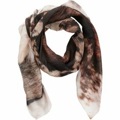 Temp Des Reves - Silk chiffon scarf in multiple furs print with hand rolled edges.