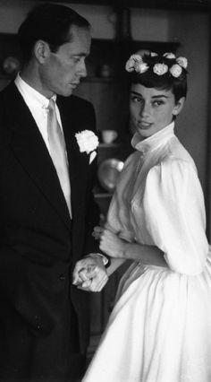 audrey hepburn wedding dress - Mel Ferrer and Audrey Hepburn's wedding