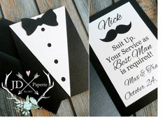 ➼ SUIT UP. YOUR SERVICE AS GROOMSMAN IS REQUIRED! This 5x7 Tuxedo invitation is a unique way of asking your buddies to be a part of your big day! This