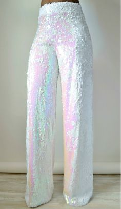 Sparkle and dazzle wearing our White Iridescent Sequin Wide Leg Pants to your next event . Sequin Outfit, Sequin Pants, White Sequin Dress, Sequin Jumpsuit, Flare Leg Pants, Wide Leg Pants, Lining Fabric, White Pants, Look Chic