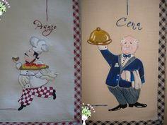 allegri cuochi dipinti a mano su tovagliette all'americana