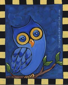 Personally - I call this Dreamy Eyed Owl - but that's just my personal opinion! Sapphire Skies Midnight Owl Song whimsical by blueyeduckstudios, $39.00
