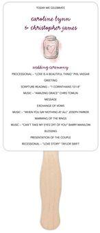 Rectangle Wedding Program Fans - Watercolor Mason Jar