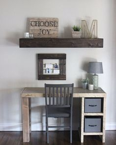 home office desk is an easy build! Erin at shares the free DIY plans on This home office desk is an easy build! Erin at shares the free DIY plans on Home Office Desks, Home Office Furniture, Diy Furniture, Home Furniture, Home Decor, Home Office Design, Home Diy, Bedroom Desk, Diy Desk Plans