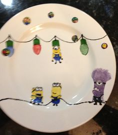 Hand painted Despicable Me plate with Christmas lights and purple minion.