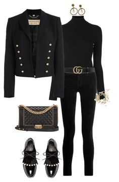 """""""Untitled #1172"""" by styledbyhkc ❤ liked on Polyvore featuring Polo Ralph Lauren, J Brand, Robert Clergerie, Gucci, Burberry, Lanvin and Chanel"""